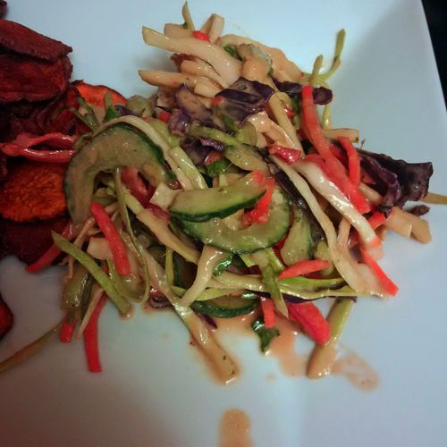 Asian crunch salad with peanut dressing