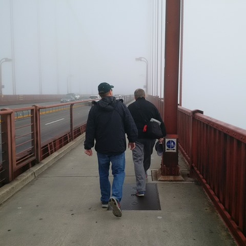 Walking across the bridge