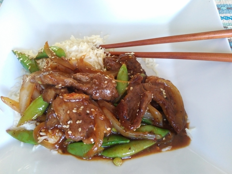 Sesame beef with snow peas